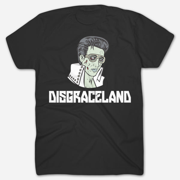 Zombie Elvis Black T-Shirt by Disgraceland for sale on hellomerch.com