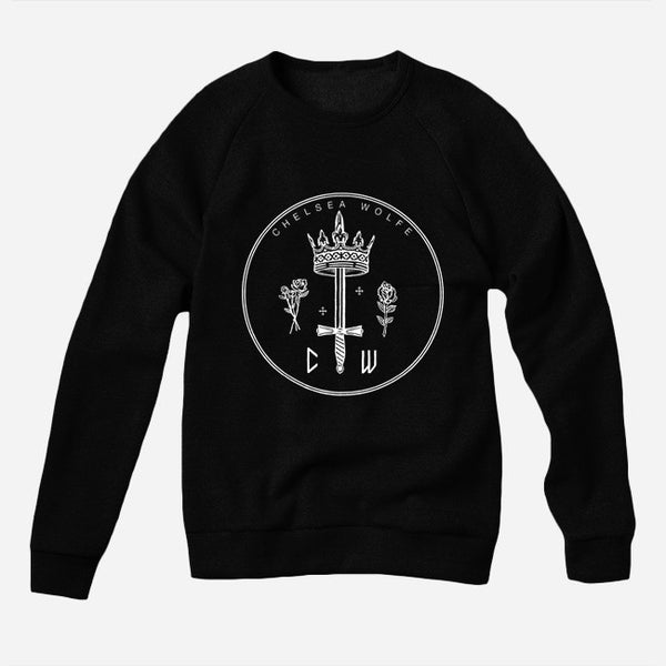 Queen of Swords Black Crew Neck Pullover Sweatshirt by Chelsea Wolfe for sale on hellomerch.com