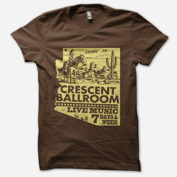 Crescent Live Brown T-Shirt by Crescent Ballroom for sale on hellomerch.com
