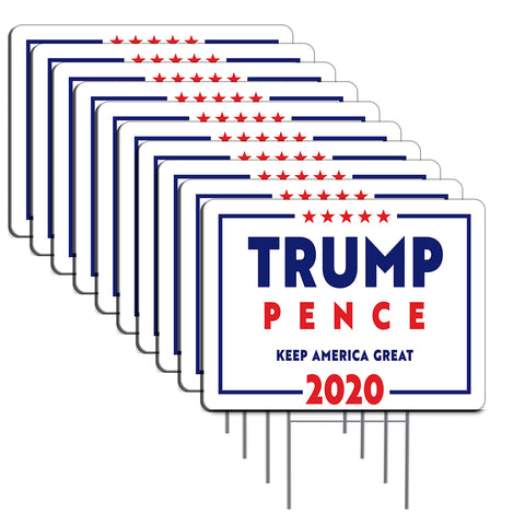 "Trump Pence 2020 10 Pack Yard Sign - Each is 24"" x 18"" and come with Metal Stake - Set 3"