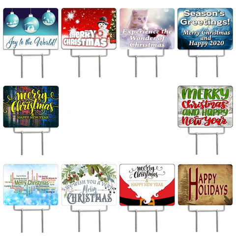 "Christmas 10 Pack Yard Signs - Each is 24"" x 18"" and come with Heavy Duty Metal Stake"