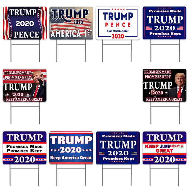 "Trump 2020 10 Pack Yard Sign - Each is 24"" x 18"" and come with Metal Stake - Set 1"