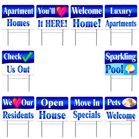 "APARTMENT LEASING Supporting 10 Pack Yard Sign - Each is 24"" x 18"" and come with Metal Stake - Set 2"