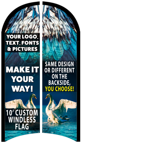 Custom Two-Sided Feather Flag 10 x 3 Feet