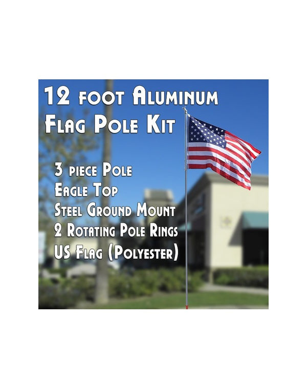 12 Foot Aluminum Flagpole Kit (Flag, Pole, Ground Mount)