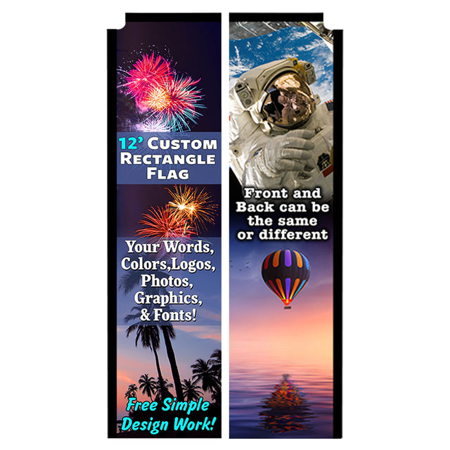 Custom Rectangle Flag 12 x 3 Feet (Double-Sided)