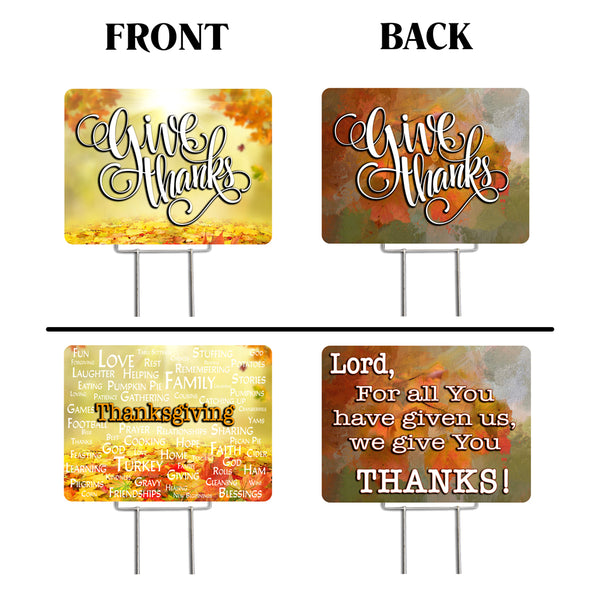 "Thanksgiving 2 Pack Yard Signs - Each is 24"" x 18"" with Upgrade Metal Stake (SET 2)"