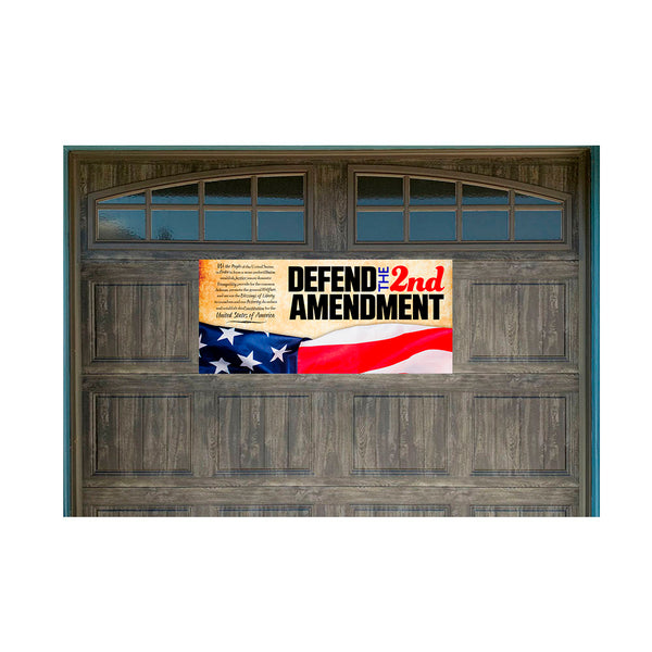 "Defend The 2nd Amendment Magnetic 21"" x 47"" Garage Banner For Steel Garage Doors"