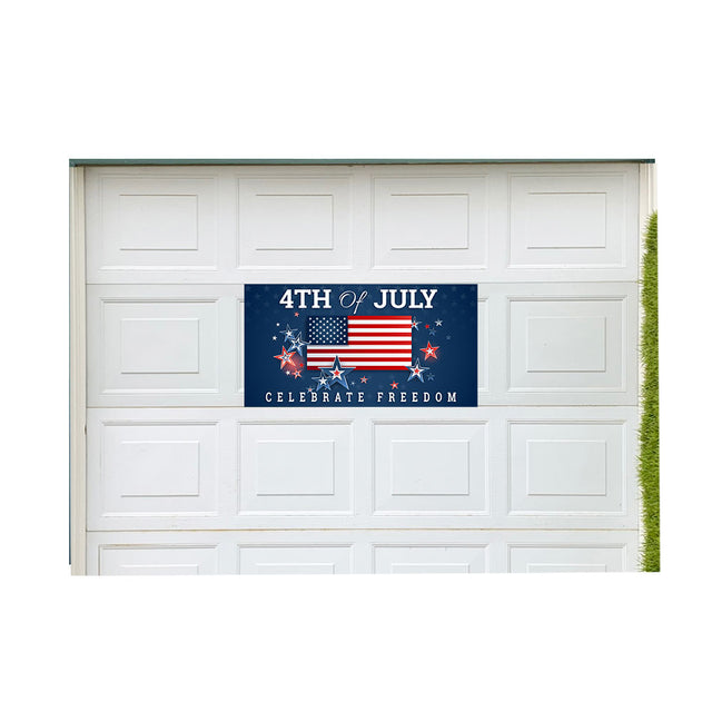 "4th of July - Celebrate Freedom 21"" x 40"" Magnetic Garage Banner For Steel Garage Doors (Made In the USA)"