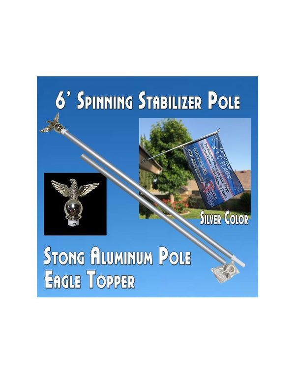 6 Ft Silver Aluminum Spinning Flagpole