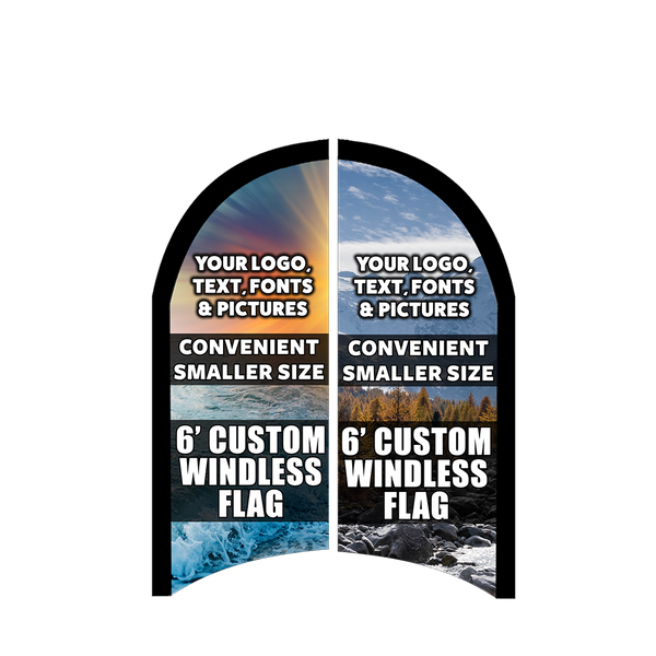 Custom Two-Sided Feather Flag 6 x 2.5 Feet