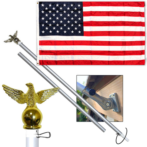 American Flag Bundle (USA Flag, Flagpole, Mounting Bracket)