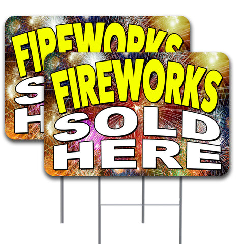 "FIREWORKS SOLD HERE 2 Pack Double-Sided Yard Signs 16"" x 24"" with Metal Stakes (Made in the USA)"
