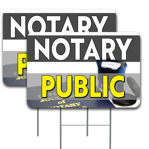 "NOTARY PUBLIC 2 Pack Double-Sided Yard Signs 16"" x 24"" with Metal Stakes (Made in the USA)"