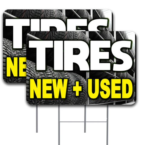 "TIRES NEW & USED 2 Pack Double-Sided Yard Signs 16"" x 24"" with Metal Stakes (Made in the USA)"