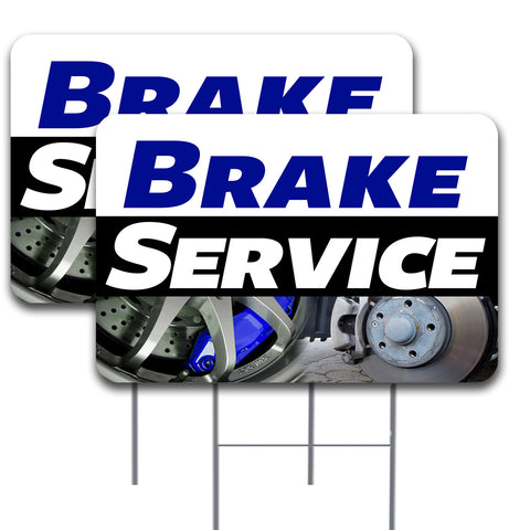 "BRAKE SERVICE 2 Pack Double-Sided Yard Signs 16"" x 24"" with Metal Stakes (Made in the USA)"