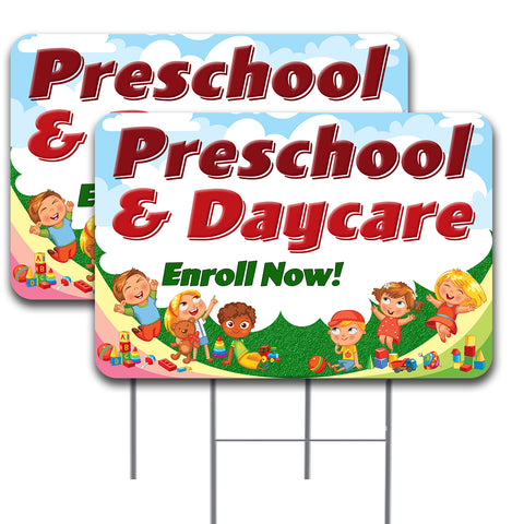 "PRESCHOOL & DAYCARE Enroll Now 2 Pack Double-Sided Yard Signs 16"" x 24"" with Metal Stakes (Made in the USA)"