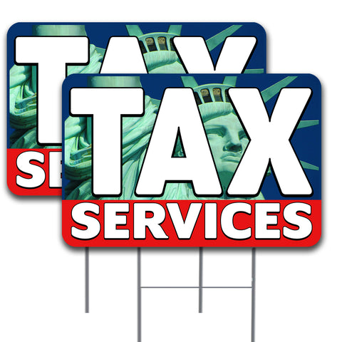 "TAX SERVICES 2 Pack Double-Sided Yard Signs 16"" x 24"" with Metal Stakes (Made in the USA)"