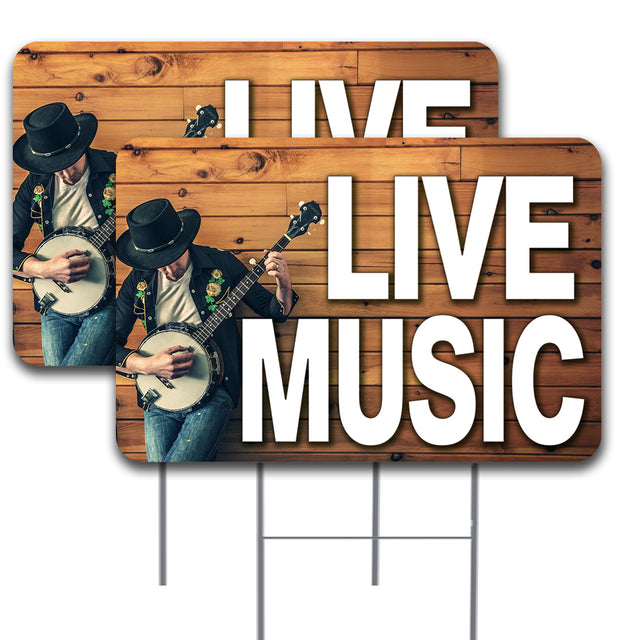 "LIVE MUSIC 2 Pack Double-Sided Yard Signs 16"" x 24"" with Metal Stakes (Made in the USA)"