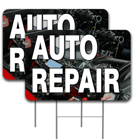"AUTO REPAIR 2 Pack Double-Sided Yard Signs 16"" x 24"" with Metal Stakes (Made in the USA)"