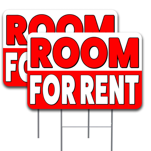 "ROOM FOR RENT  2 Pack Double-Sided Yard Signs 16"" x 24"" with Metal Stakes (Made in the USA)"