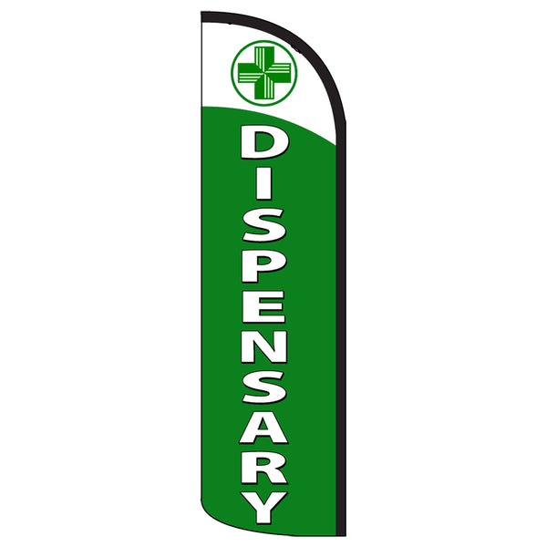 Dispensary Premium Windless  Polyknit Feather Flag with Bundle Option (11 x 3 Feet)