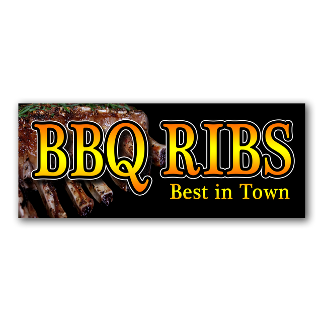 BBQ RIBS Vinyl Banner (Size Options)