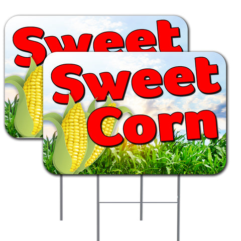SWEET CORN 16x24 Inch 2 Pack Double-Sided Yard Sign With Metal Stakes (Made in the USA)