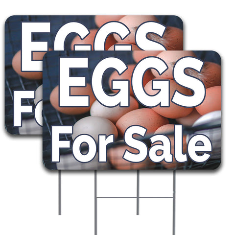 EGGS FOR SALE 2 Pack 16x24 Inch Single-Sided Yard Sign (Made in the USA)