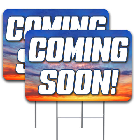 "Coming Soon 2 Pack Double-Sided Yard Signs 16"" x 24"" with Metal Stakes (Made in the USA)"