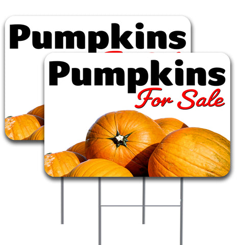 PUMPKINS FOR SALE 2 Pack 16x24 Inch Signs With Metal Stakes Made In The USA