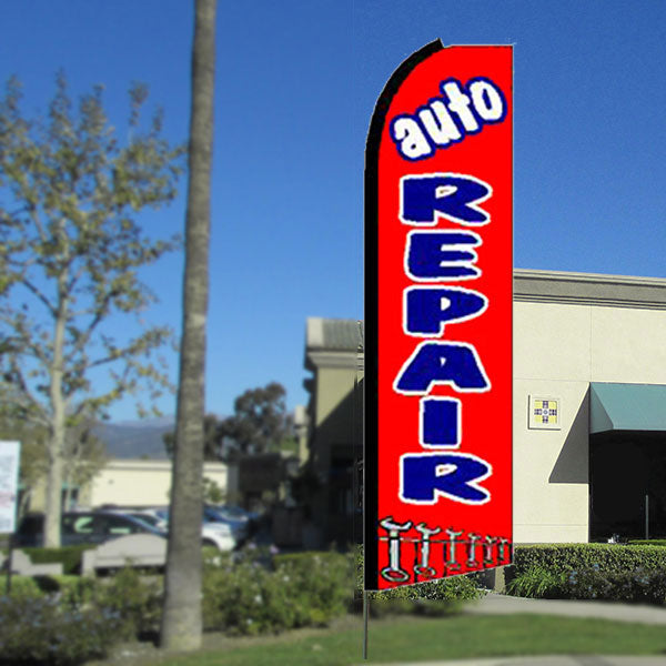AUTO REPAIR Flutter Feather Banner Flag with Bundle Option (3 x 11.5 Feet)