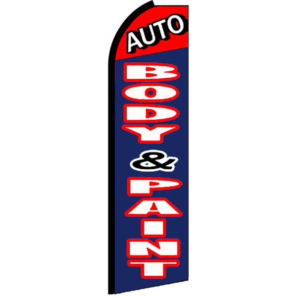Auto Body & Paint Flutter Feather Banner Flag with Bundle Option (3 x 11.5 Feet)