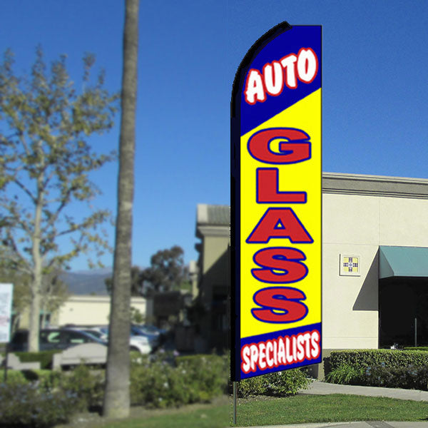 Auto Glass Specialists Flutter Feather Banner Flag with Bundle Option (3 x 11.5 Feet)