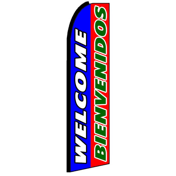Welcome Bienvenidos Flutter Feather Banner Flag with Bundle Option (3 x 11.5 Feet)