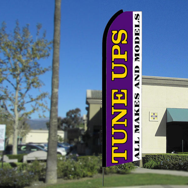 Tune Ups All Makes and Models Flutter Feather Banner Flag with Bundle Option (3 x 11.5 Feet)