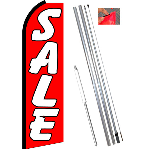 SALE (Red/White) Flutter Feather Banner Flag Kit (Flag, Pole, and Ground Mount)