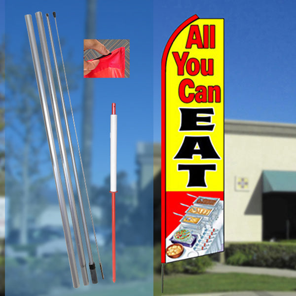 ALL YOU CAN EAT Flutter Feather Banner Flag Kit (Flag, Pole, and Ground Mount)