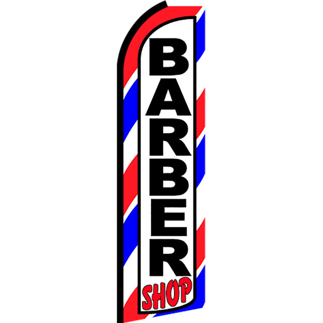 Barber Shop (Border) Flutter Feather Banner Flag with Bundle Option (3 x 11.5 Feet)