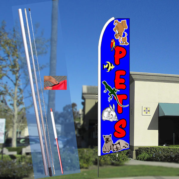 Pets Flutter Feather Banner Flag with Bundle Option (3 x 11.5 Feet)
