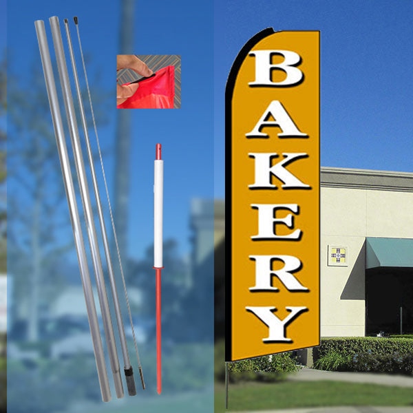 BAKERY (Gold) Flutter Feather Banner Flag Kit (Flag, Pole, and Ground Mount)
