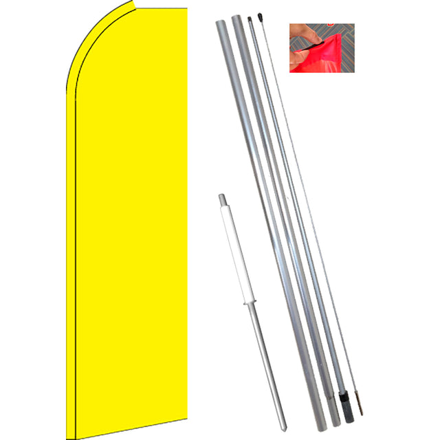 Solid YELLOW Flutter Feather Banner Flag Kit (Flag, Pole, and Ground Mount)