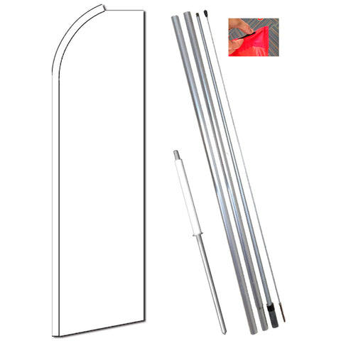 Solid WHITE Flutter Feather Banner Flag Kit (Flag, Pole, and Ground Mount)