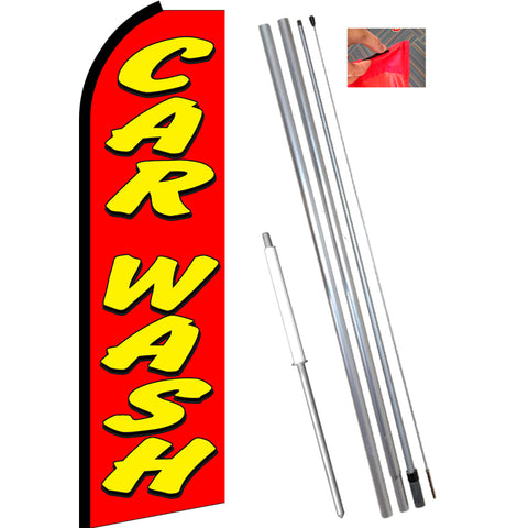 CAR WASH (Red) Flutter Feather Banner Flag Kit (Flag, Pole, and Ground Mount)