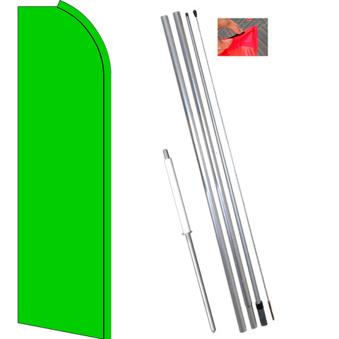 Solid Light GREEN Flutter Feather Flag Kit (Flag, Pole, and Ground Mount)
