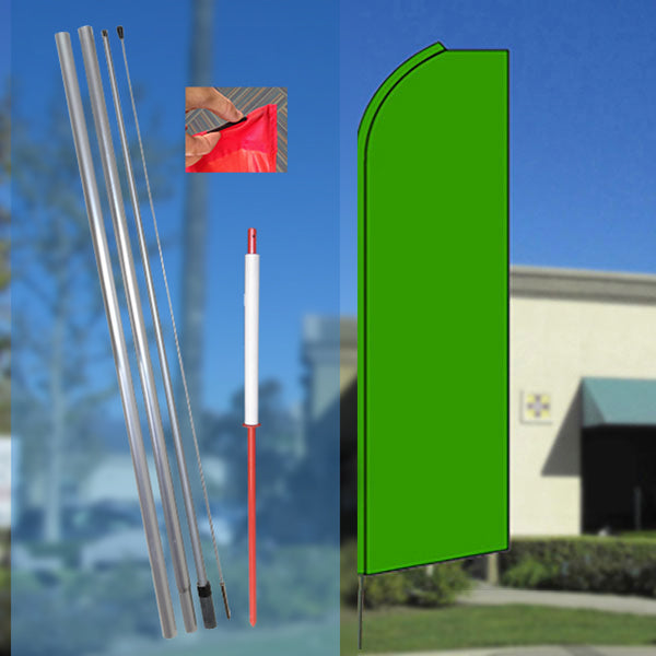 Solid GREEN Flutter Feather Banner Flag Kit (Flag, Pole, and Ground Mount)