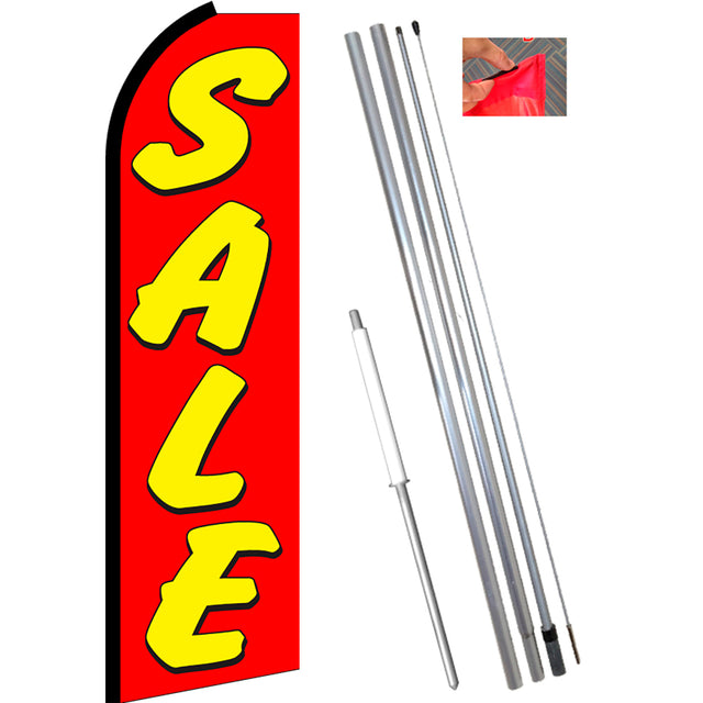 SALE (Red/Yellow) Flutter Feather Banner Flag Kit (Flag, Pole, and Ground Mount)