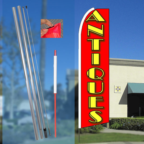 ANTIQUES (Red) Flutter Feather Banner Flag Kit (Flag, Pole, & Ground Mt)