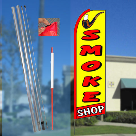 SMOKE SHOP (Yellow/Red) Flutter Feather Banner Flag Kit (Flag, Pole, & Ground Mt)