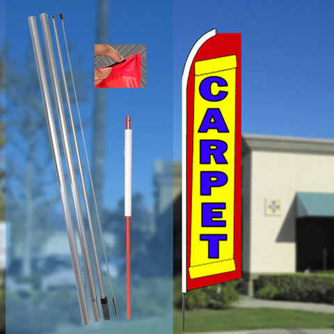 CARPET (Yellow/Red) Flutter Feather Banner Flag Kit (Flag, Pole, and Ground Mount)